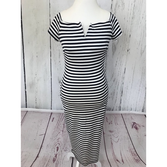 Vijo Couture Dresses Nwt Striped Off The Shoulder Dress Poshmark